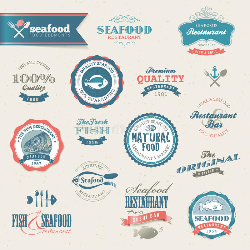 elementów etykietek owoce morza set ilustracji