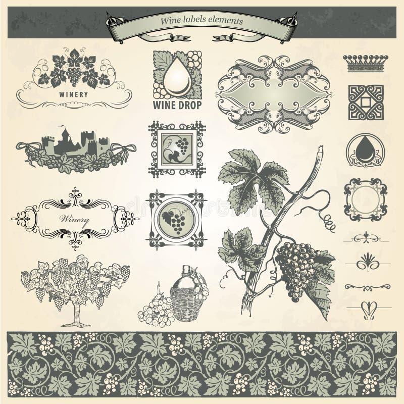 elementów etykietek rocznika wino ilustracji