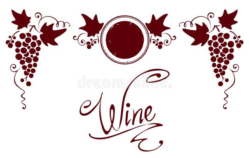 elementów etykietki setu wino ilustracji