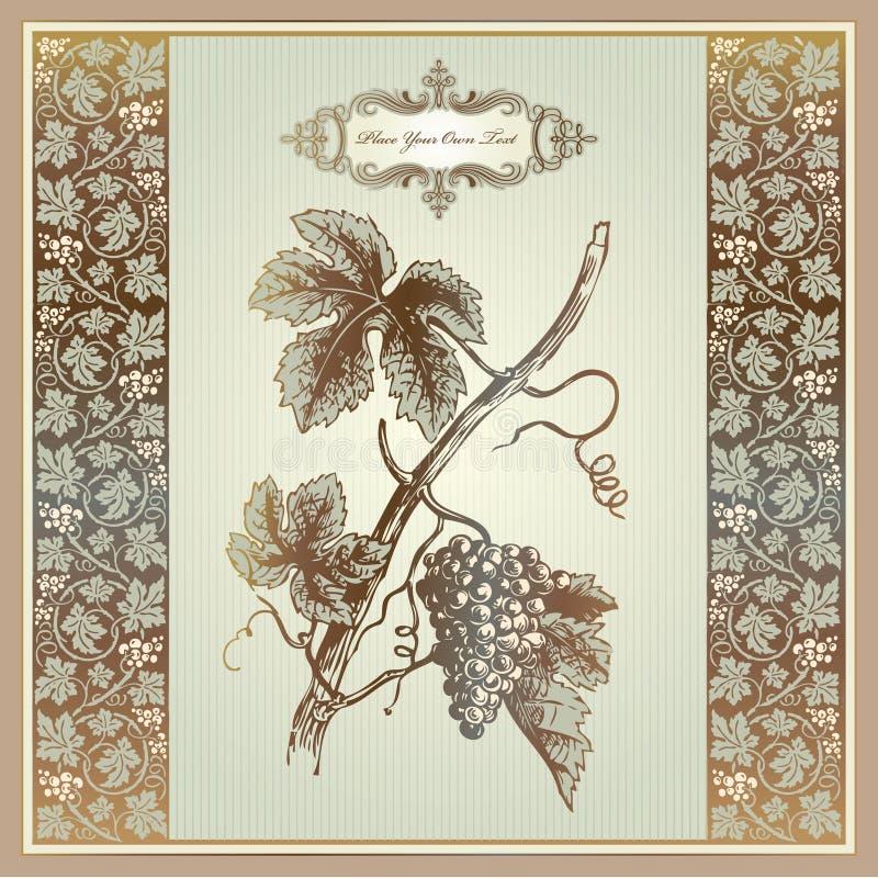 elementów gronowy etykietki menu druku rocznika wino ilustracji