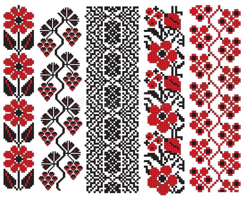 elementów hafciarski kwiatu ukrainian ilustracja wektor
