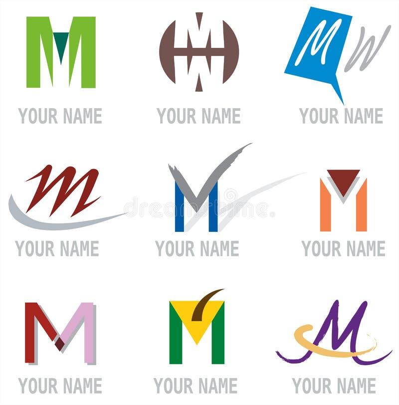 elementów ikon listowy loga m set ilustracji