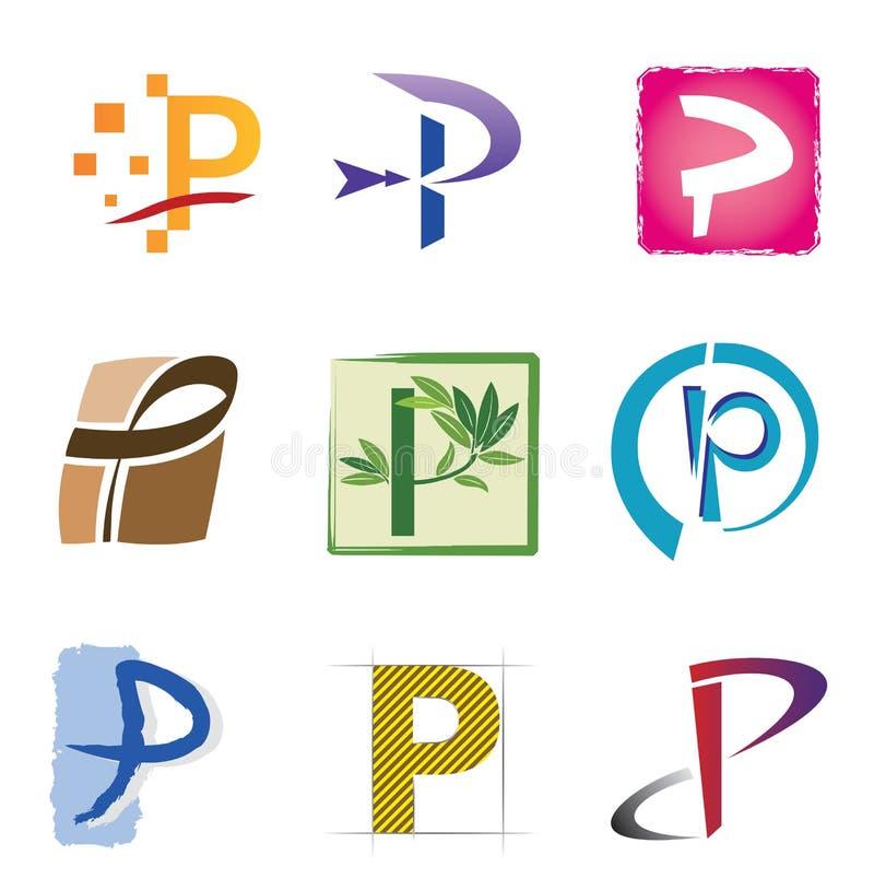 elementów ikon listowy loga p set royalty ilustracja
