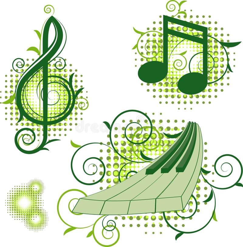 elementów znaki kwieciści muzykalni ilustracji