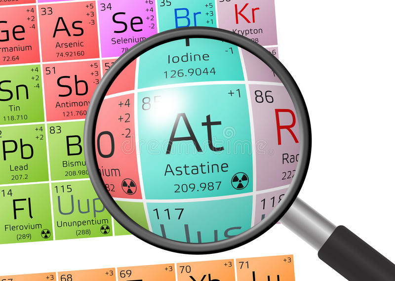 Element of Astatine with magnifying glass stock illustration