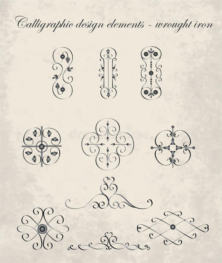 Element-bearbeitetes Eisen des kalligraphischen Designs Vektor, Illustration vektor abbildung