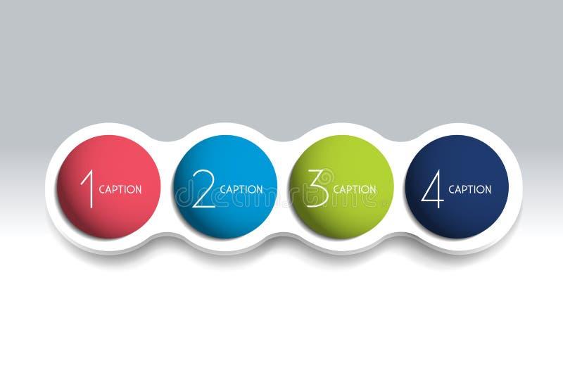 Element-Blasendiagramm mit 4 Schritten, Entwurf, Diagramm, Schablone lizenzfreie abbildung