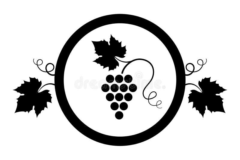 Element_Bunch de conception de raisin des raisins avec des feuilles et des enjolivures i illustration stock