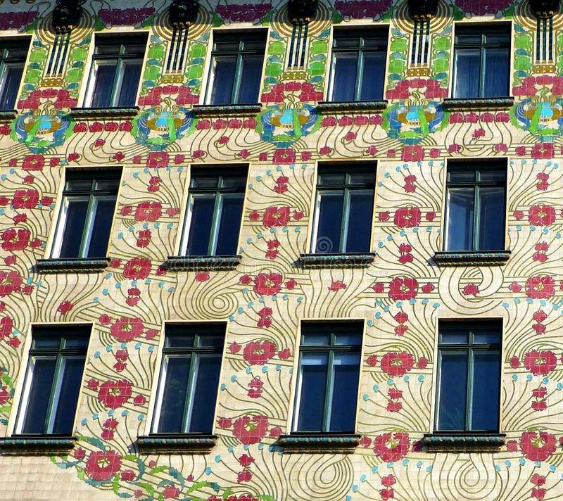 Element of the colorful facade of the Majolica house, Vienna, Austria royalty free stock photo