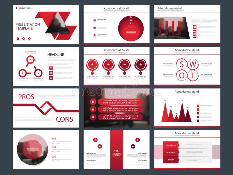 Element-Darstellungsschablone des roten Bündels infographic Geschäftsjahresbericht, Broschüre, Broschüre, Reklamehandzettel, lizenzfreie abbildung