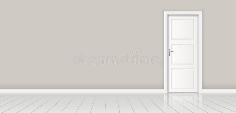 Element der Architektur - vector graue Wand des Hintergrundes und geschlossene weiße Tür lizenzfreie abbildung