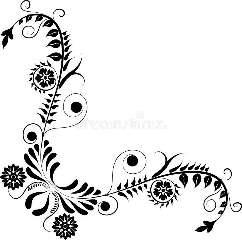 Element for design, corner flower, vector stock illustration