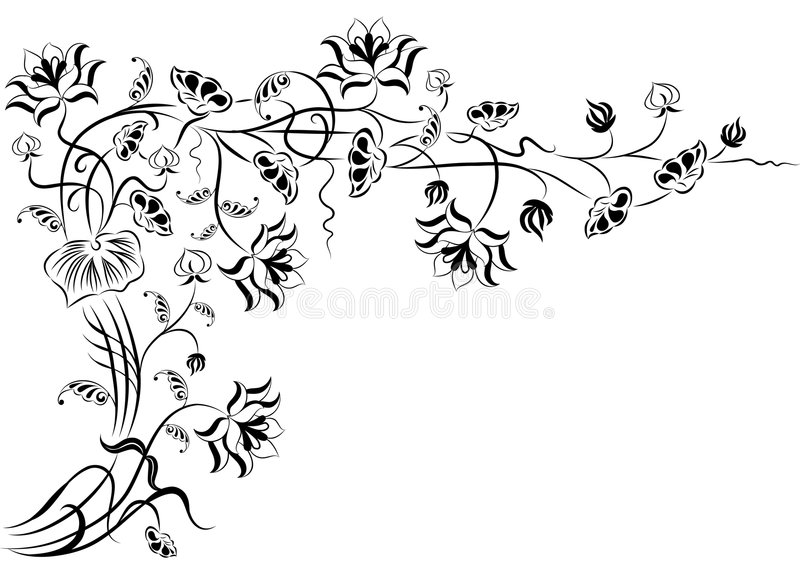 Element for design, corner flower, vector royalty free illustration