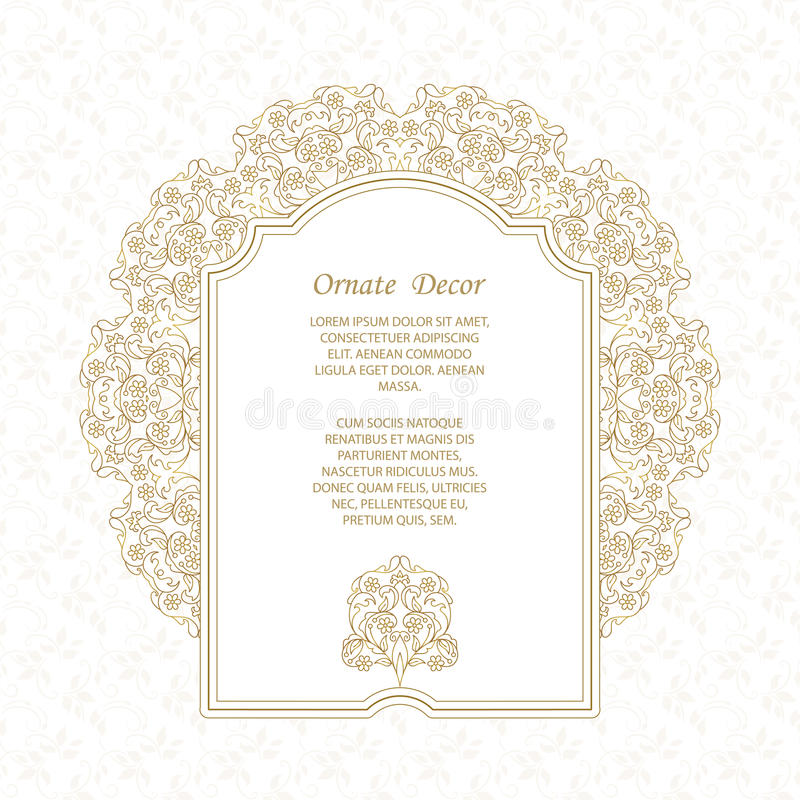Element for design template. Vector decorative frame. Elegant element for design template, place for text. Floral border. Lace decor for birthday and greeting royalty free illustration