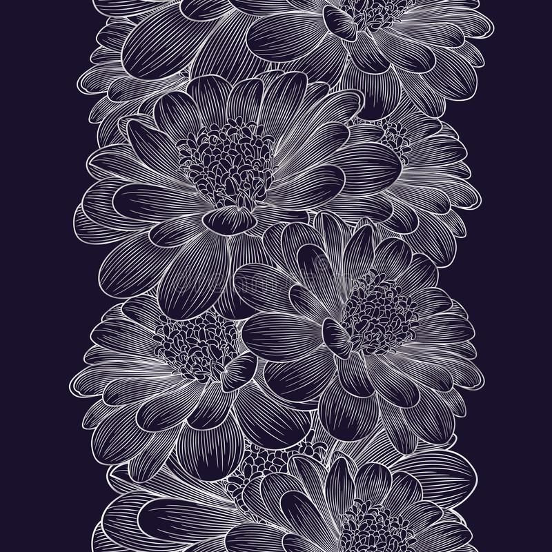 Silver seamless hand-drawing floral background with flower chamomile . stock images