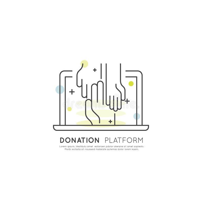 Element dla organizacj niekomercyjnych i darowizny Centre Gromadzi fundusze symbole Crowdfunding projekta etykietka ilustracja wektor