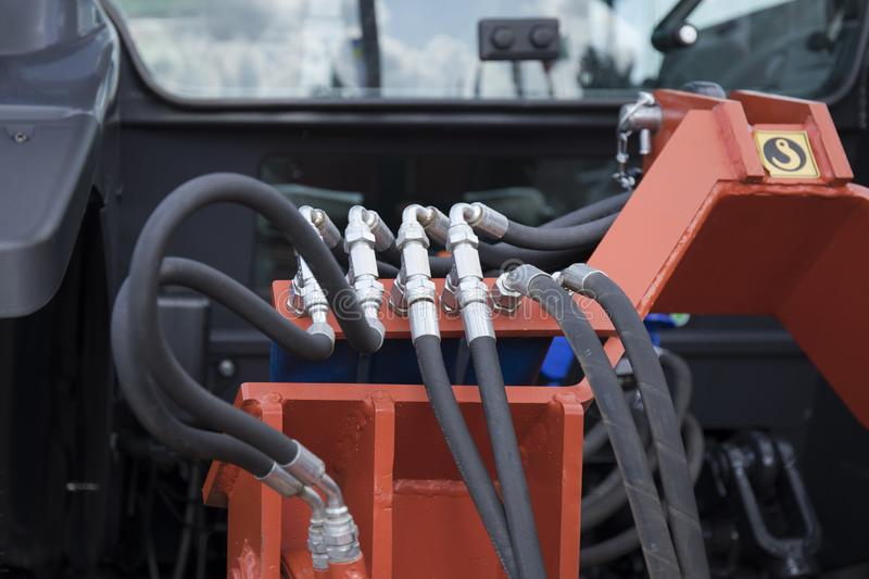 Element of engine system of new modern agricultural tractor or combine or harvester royalty free stock image