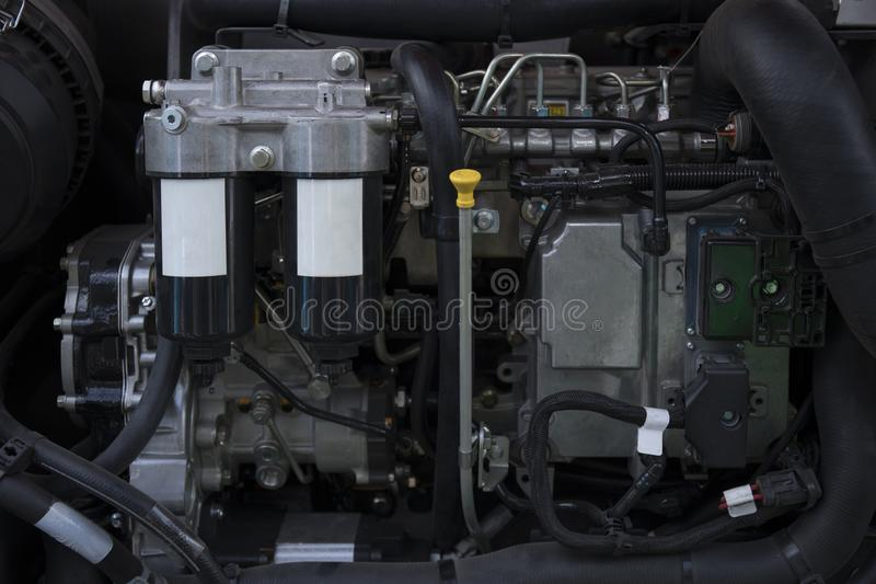 Element of engine system of new modern agricultural tractor or combine or harvester stock photo