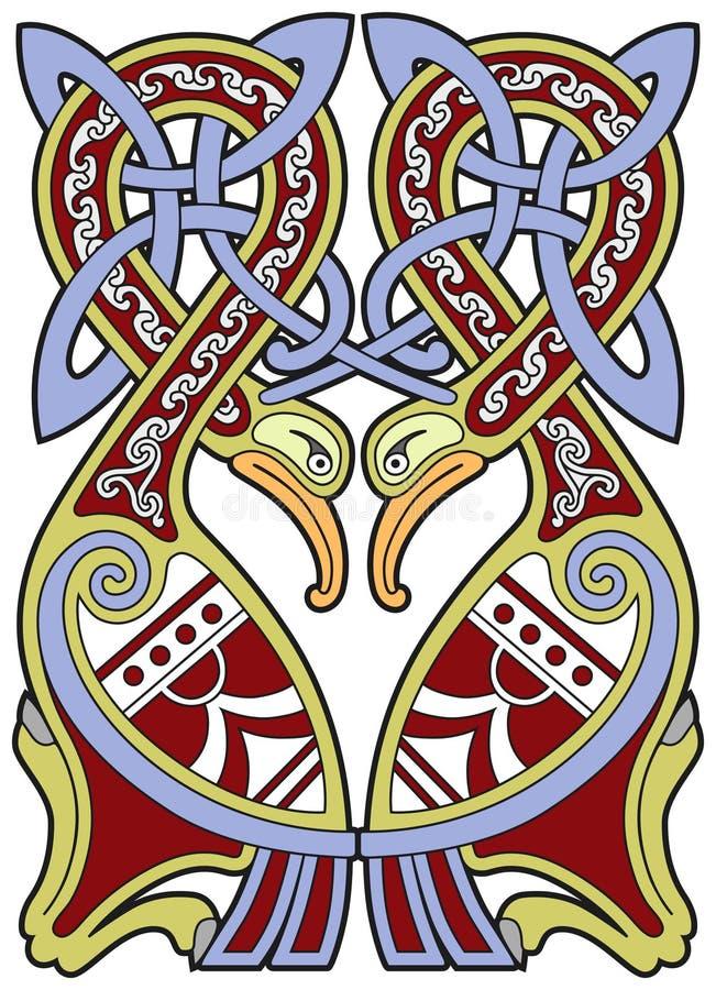 element för celtic design för fåglar detaljerat royaltyfri illustrationer