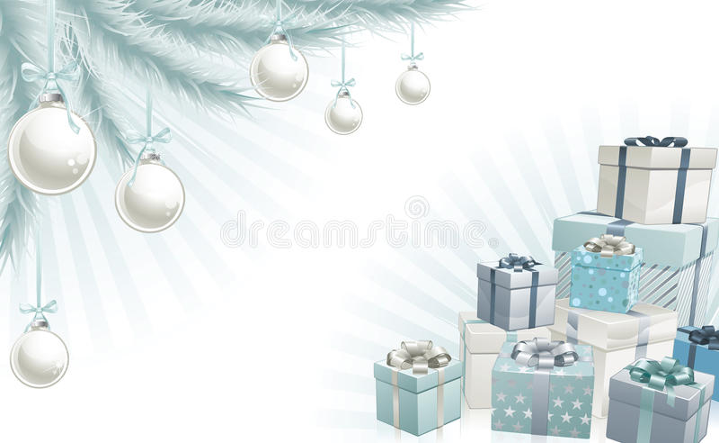 Element för hörn för julsilver blåa vektor illustrationer
