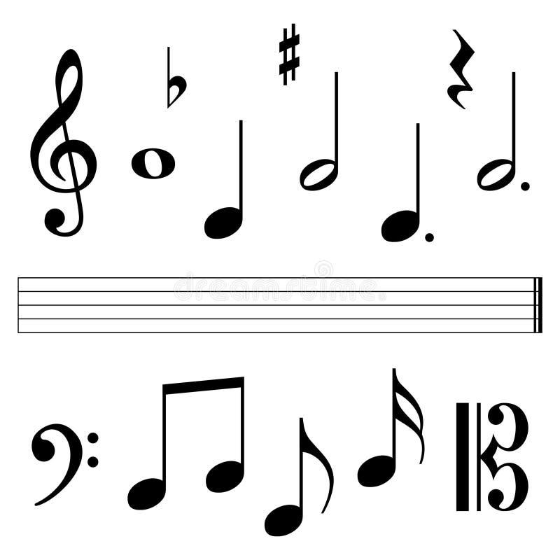 Element för musikbeteckningssystem royaltyfri illustrationer