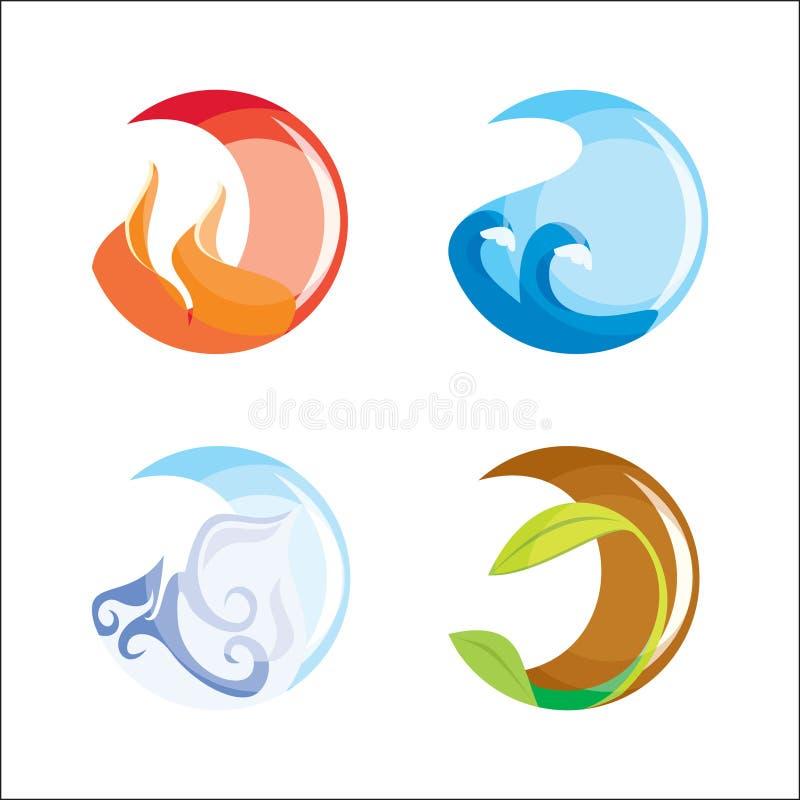 element fyra vektor illustrationer