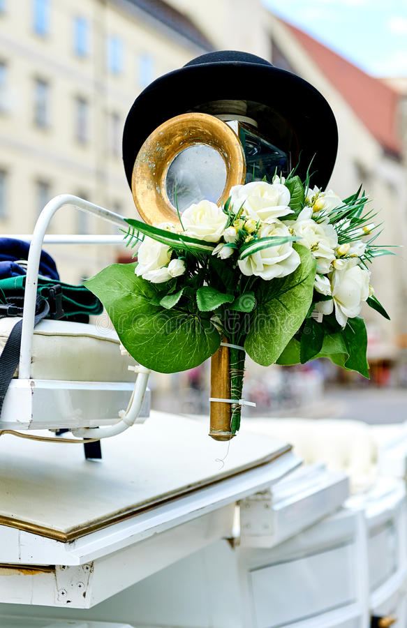 Element of a horse-drawn wedding carriage royalty free stock images