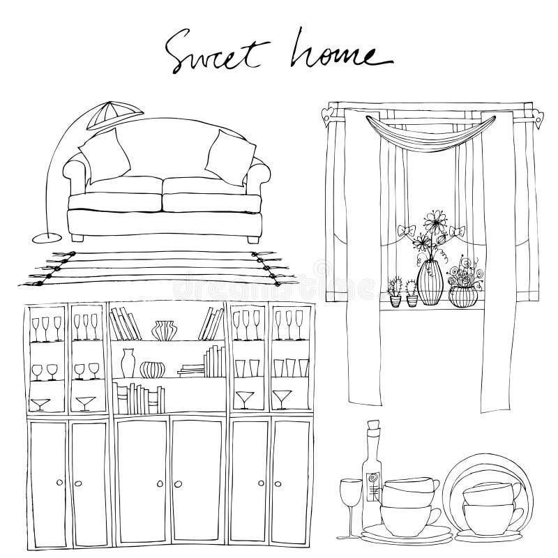 element illustrerade interiorseten royaltyfri illustrationer