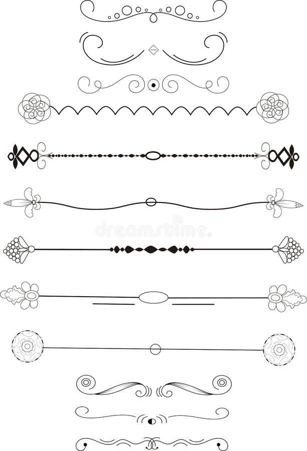 element inramniner utsmyckat Tappning- och filigrangarnering Prydnadramar och snirkelvirvelbeståndsdel Filigranavdelare stock illustrationer