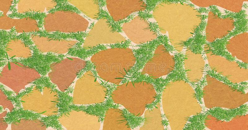 Element for landscape design, paving slabs, pattern of masonry with green grass, garden path overgrown with greenery. Element for landscape design, paving slabs stock illustration