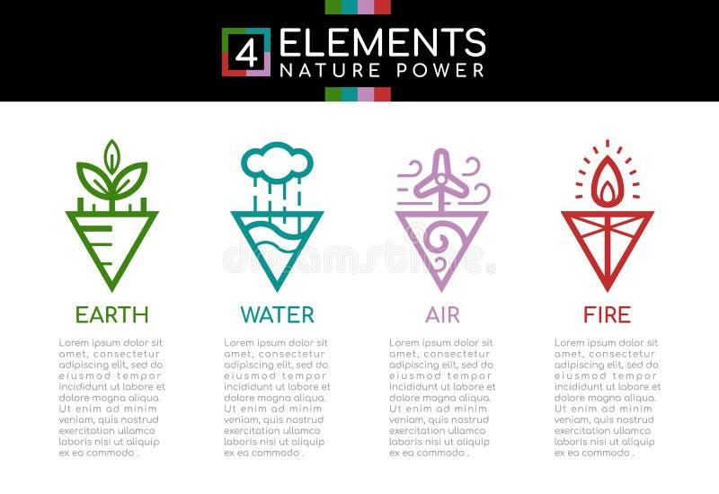 Element-Naturenergie der Natur 4 mit Linie Grenzzusammenfassungsdreieckartzeichen-Ikonenzeichen Wasser, Feuer, Erde, Wind ENV 10 lizenzfreie abbildung