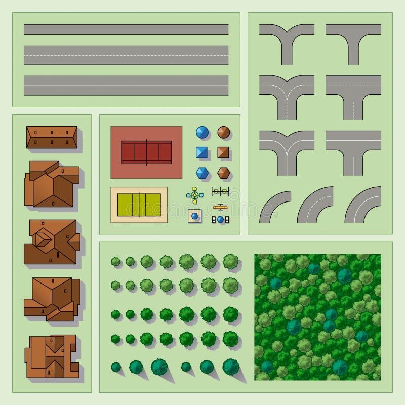 element planerar seten stock illustrationer