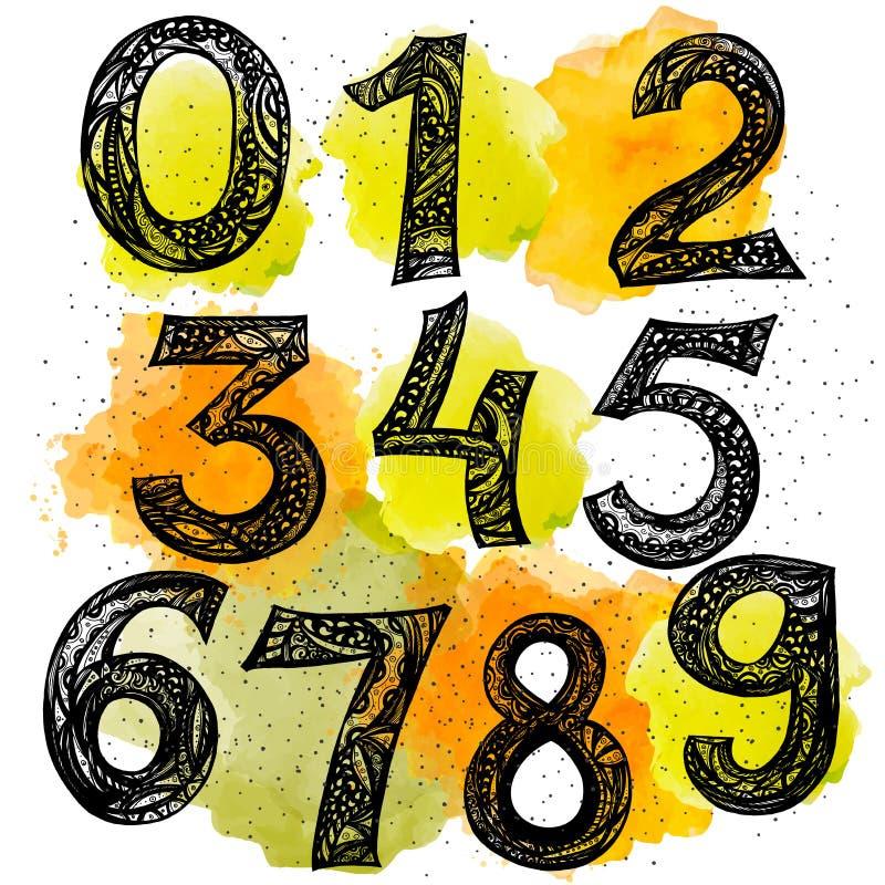 element Satz kalligraphische Tintenzahlen Gekritzel mit 123 Zahlen für Ihr Design vektor abbildung