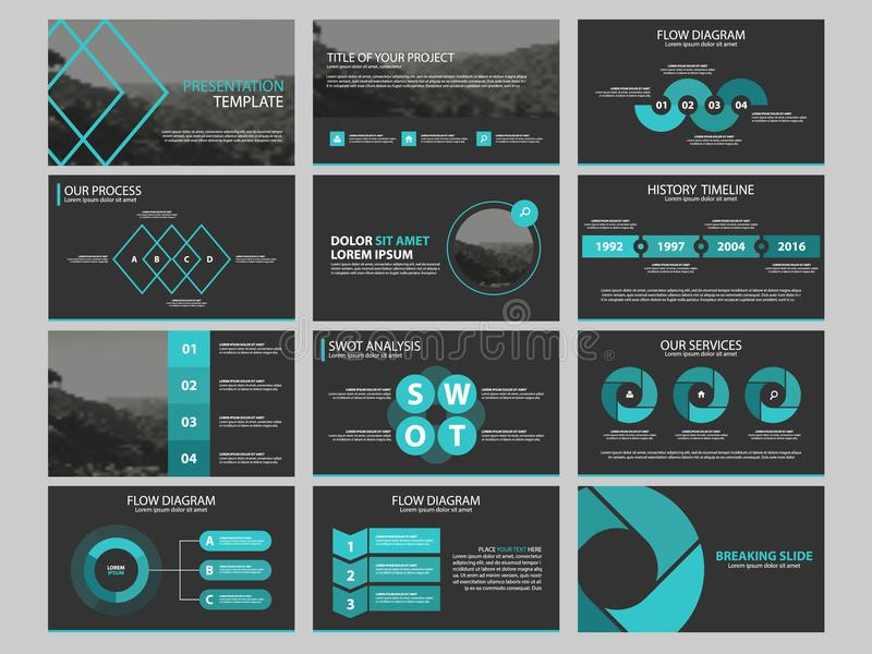 Element-Schablonensatz der Geschäftsdarstellung infographic, korporatives horizontales Broschürendesign des Jahresberichts stock abbildung