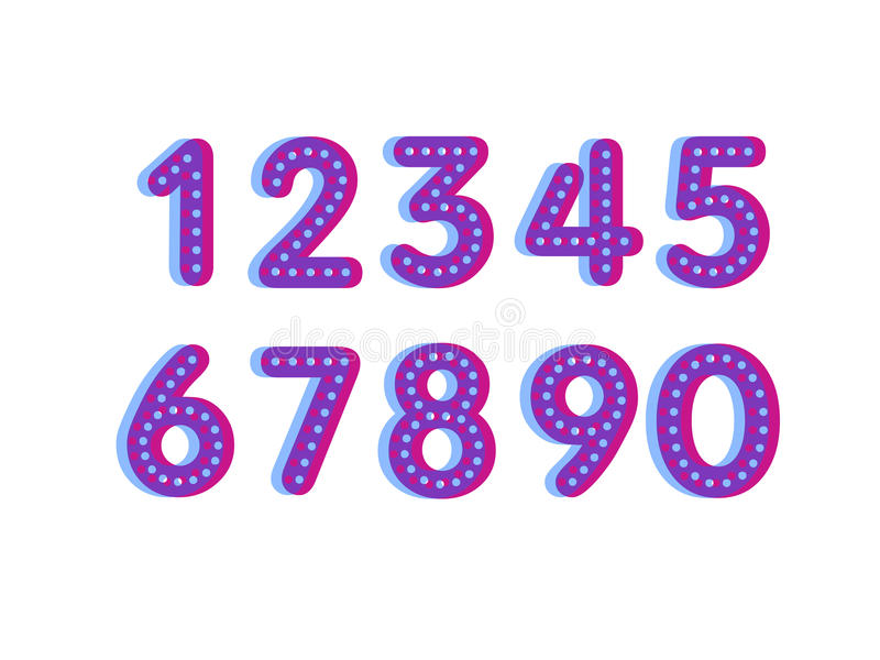Element set of ten numbers form zero to nine, number flat design. Set of ten numbers form zero to nine with dots vector illustration