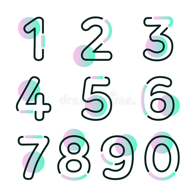 Element set of ten numbers form zero to nine, number flat design. Set of ten numbers form zero to nine with gradient colors stock illustration