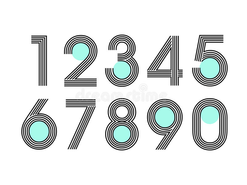 Element set of ten numbers form zero to nine, number flat design. Set of ten numbers form zero to nine with line and dot vector illustration