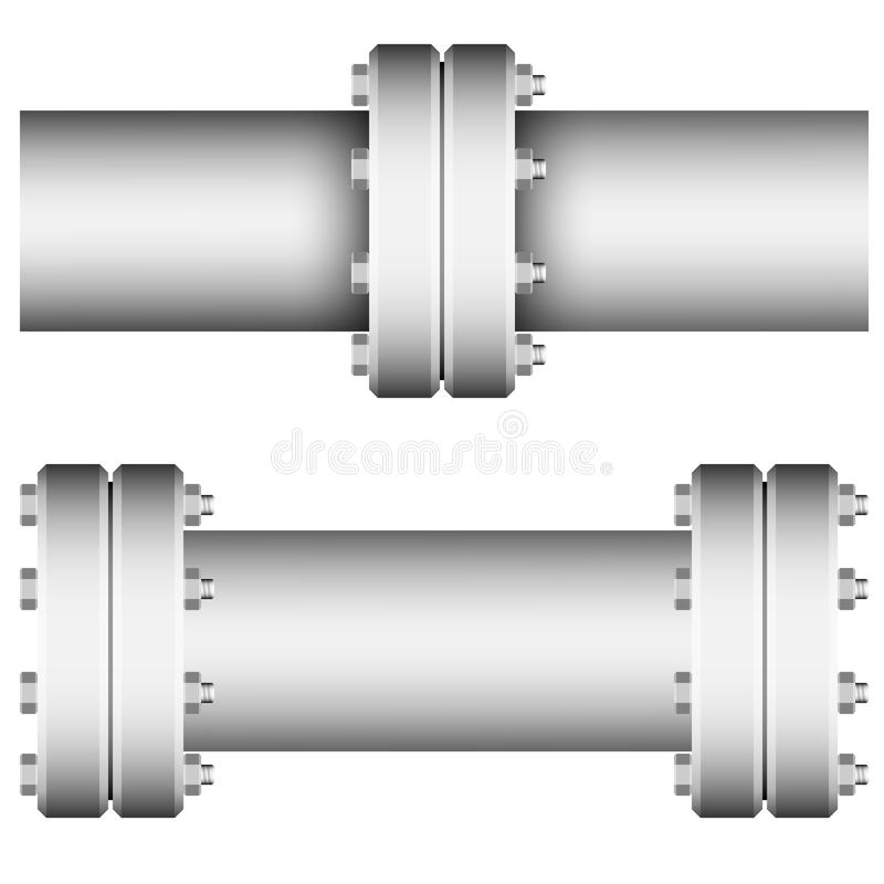 Element with straight pipe flanges vector illustration