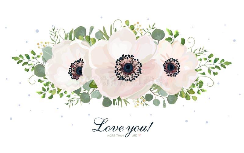 Element van het de waterverfontwerp van het bloemboeket het vector Perzik, roze whi stock illustratie