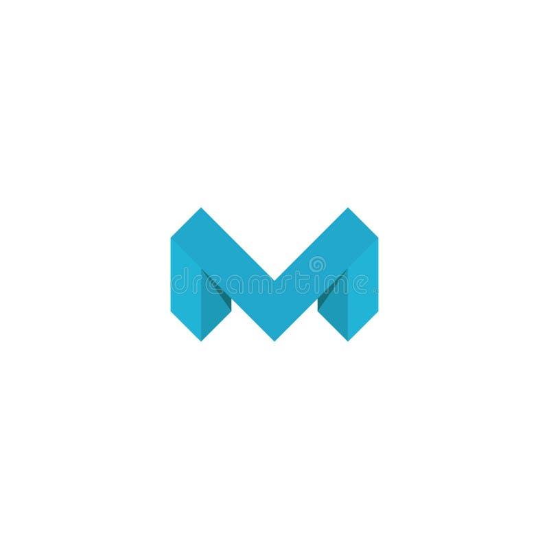 Element van het het model isometrische grafische ontwerp van de embleemm brief het blauwe, 3D, malplaatje van de concepten het ge stock illustratie