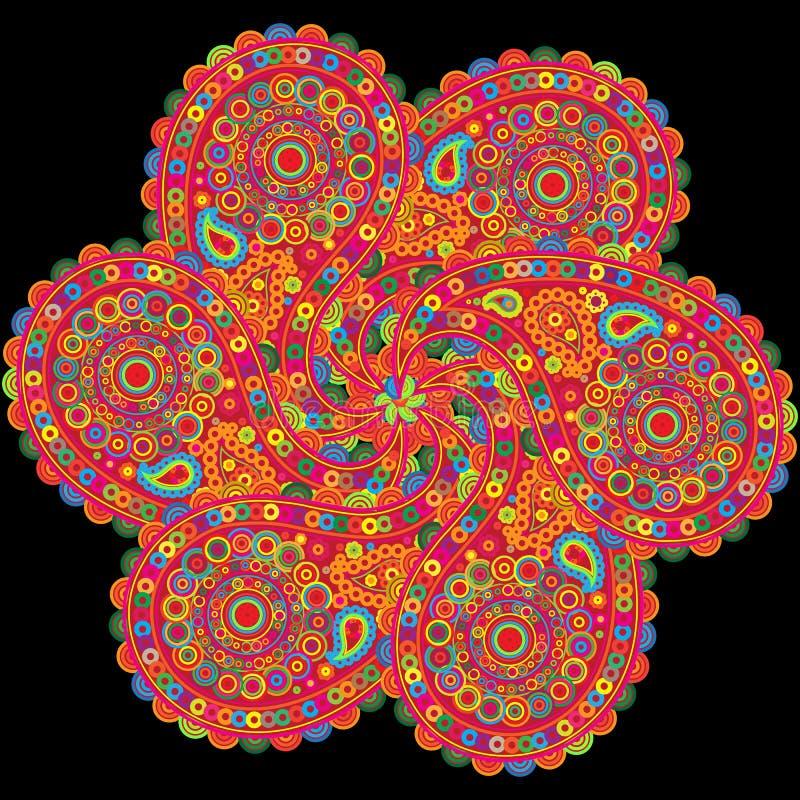 Element van India, Patroon met Element India die, Ontwerp, elementen in een cirkel herhalen stock illustratie