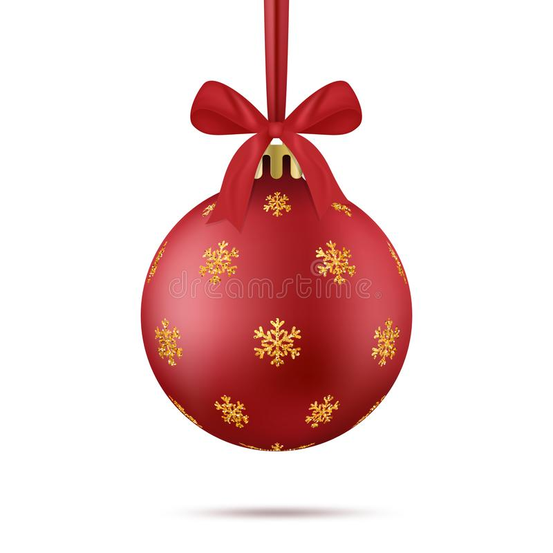 Element van ontwerp De realistische rode Kerstmisbal met goud schittert sneeuwvlokkendecor, lint en boog royalty-vrije illustratie