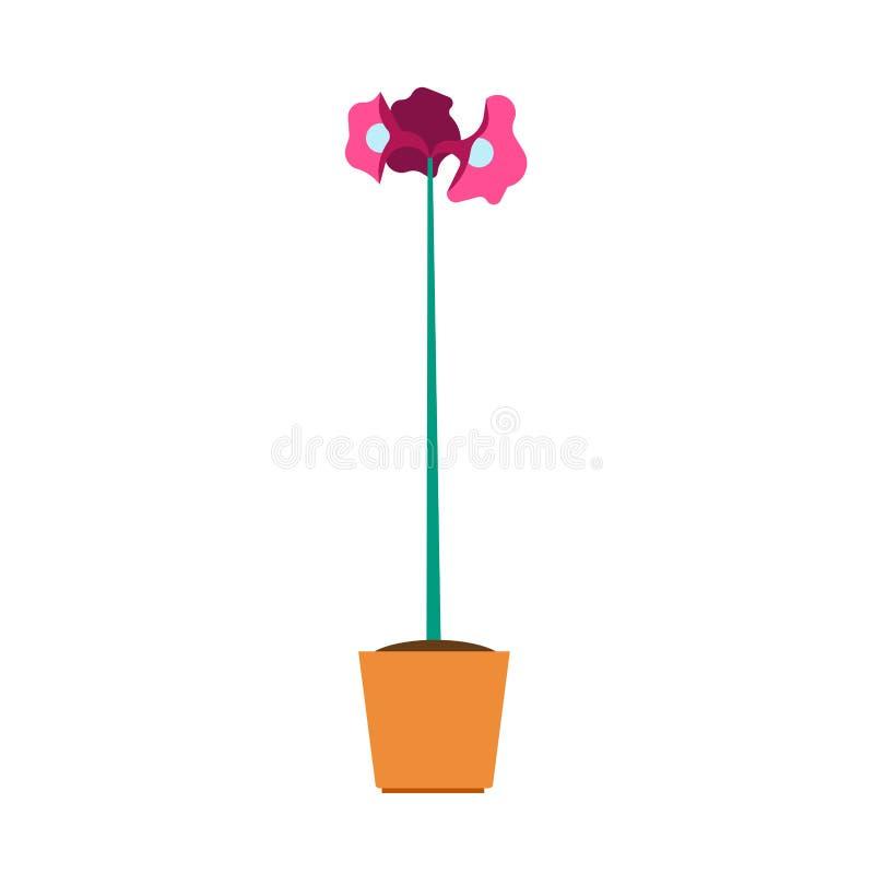 Element-Vektorblumenikone des Blumentopfs im Garten arbeitende dekorative B?ROvase der flachen Illustration des Gr?npflanzehauses vektor abbildung