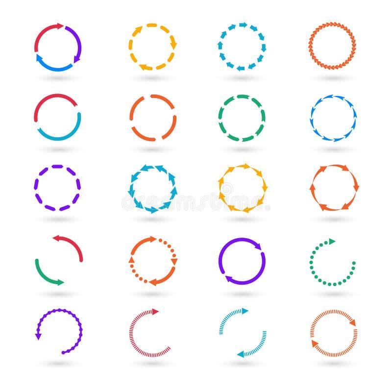 Element-Vektorsatz der Kreispfeile infographic stock abbildung