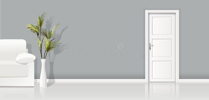 Element wektorowego tła popielata ściana, kanapa i zamykający biały drzwi architektura -, ilustracji