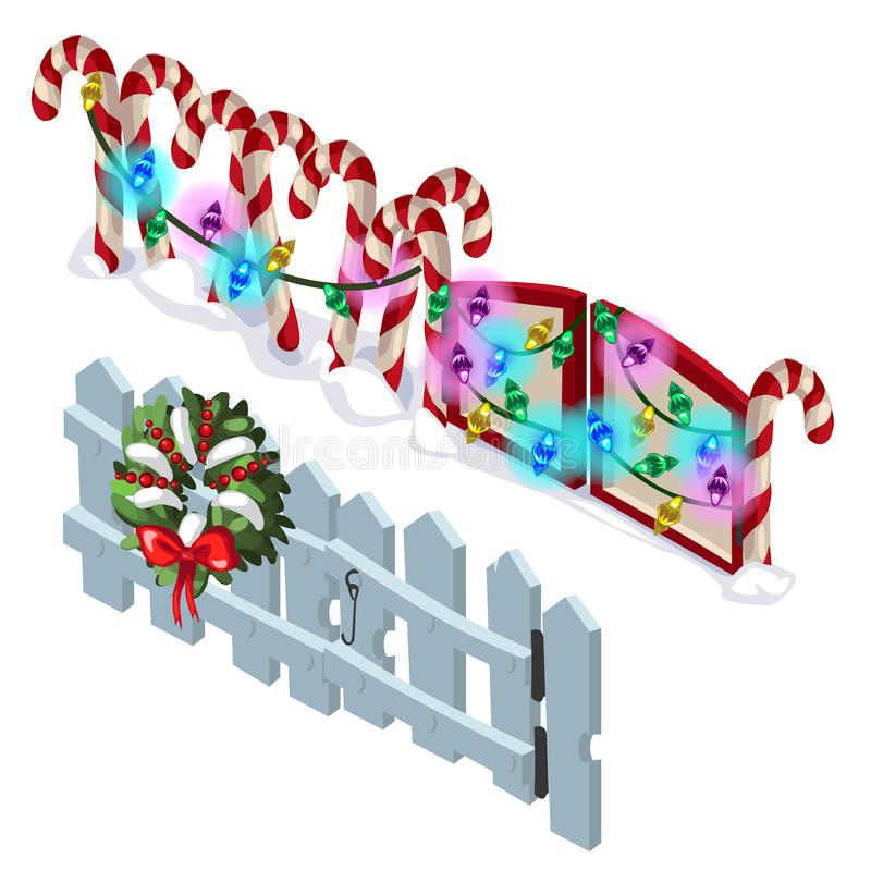Snowy Peaks Christmas Tree Farm: Cartoon Landscape With A Wooden Fence Stock Vector