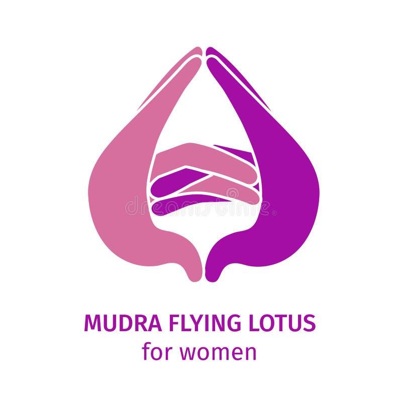 Element yoga mudra flying lotus. Vector illustration royalty free illustration