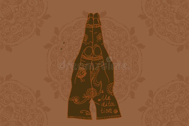 Mehndi Patterns Vector : Element yoga mudra hands with mehndi patterns stock vector