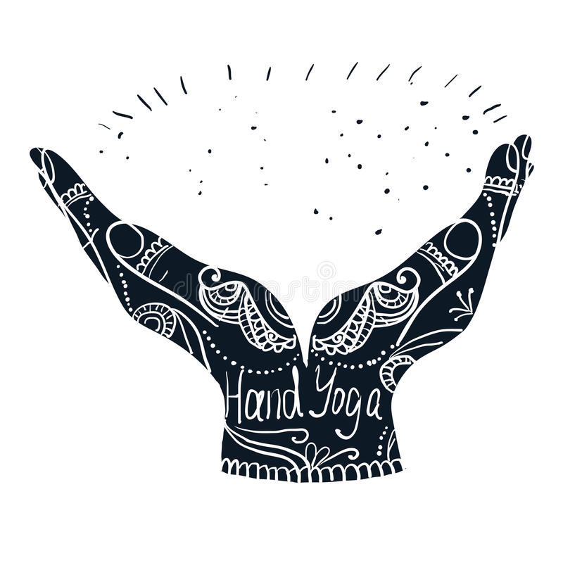 Mehndi Hand Vector Free Download : Element yoga mudra hands with mehndi patterns stock