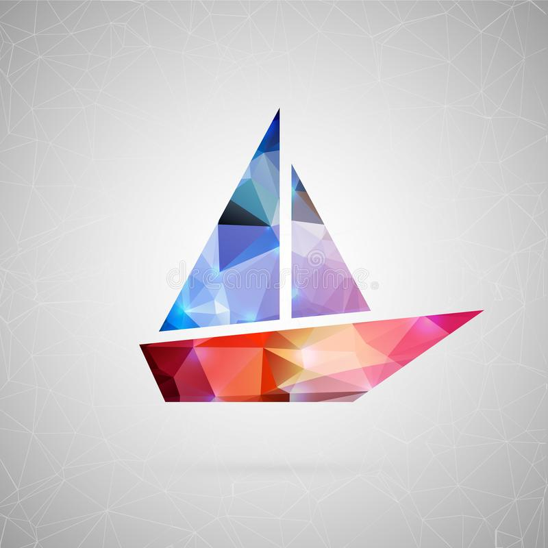 Element for your design. Abstract creative concept icon of boat. For web and mobile content isolated on background, unusual template design, flat silhouette vector illustration